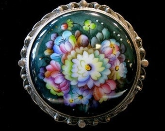 Round Floral Brooch Russian Enamel Jewelry