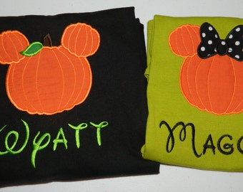 Custom Applique Personalized Name Pumpkin Mickey Minnie Disney Vacation