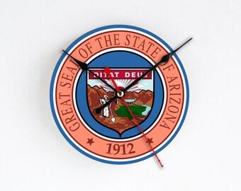 Arizona Wall Clock Orange Blue Wall Decor Home Decor USA States Rare Gift Handmade Clock Gift for Hostess Houseware