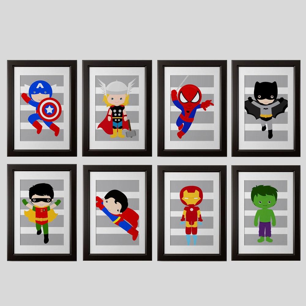 superhero 5x7 inch PRINTS, superhero high quality prints, shipped to your door, set