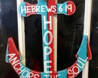Anchor Door Hanger, Summer Door Hanger, Beach, Red and Blue, Hope Anchors the Soul