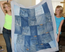 Blue Jean Quilt with Polar Fleece Back and Actual Jean Pockets! Size: 47 x 53 inches.