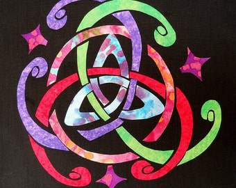 Easy Celtic Triquetra 2 Knot Quilt Applique Pattern Design