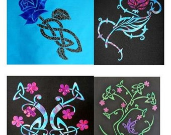 Set of 4 Celtic Flower Quilt Applique Patterns Designs