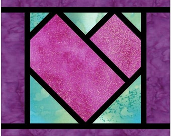 Stained Glass Heart 2 Paper Piece Foundation Quilting Block Pattern