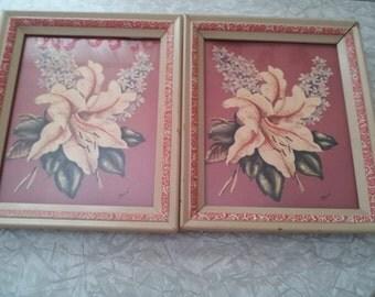 Vintage Framed Rene Prints Framed Floral Prints Pair