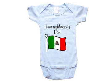 Baby One-Piece Body Suit -Personalized Gifts-I LOVE My Mexican Dad - CreativeIdeas&More Baby Designs - White, Blue or Pink One-Piece