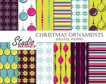 Christmas Digital Papers, Holiday Patterns, Purple Paper, Christmas Pattern Ornaments, Winter Holidays Papers A385