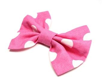 Girl Hair Bow, Pink Polka Dot Bow - Pink Bow - Pink and White Polka Dot Bow - Big Pink Bow