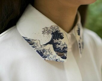 3rd version: Fine Art Collection Japanese painting Hokusai's The Great Wave of Kanagawa white Shirt with wave collar