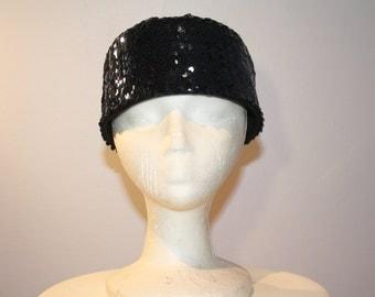 Women's Navy Sequins Pillbox Dress Hat