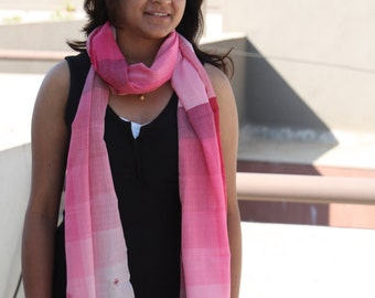 Light weight Cotton Stole / Scarf in shades of pink with small hand embroidered flowers on the ends.