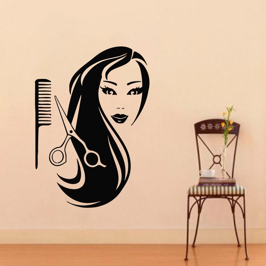 Wall decals for beauty salon hairdressing hair decal vinyl for Stickers salon