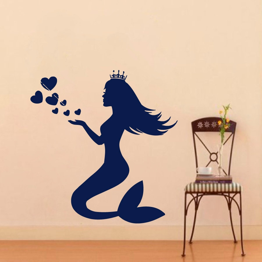 wall decals water nymph mermaid decal vinyl sticker bathroom. Black Bedroom Furniture Sets. Home Design Ideas