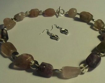 Necklace and Earings Set, Rainbow Fluorite Nuggets Antique Silver Disc Beads , and Antique Silver Toggle Clasp