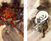 Raijin (雷神)  god of lightning and thunder and Fūjin (風神) god of wind, watercolor on silk.