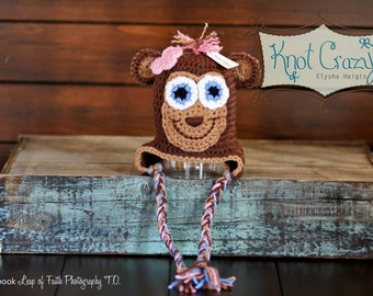 Mo Mo Monkey Hat made to order in sizes newborn to adult