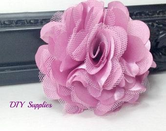 Mauve satin tulle flower - diy wedding flowers - fabric flowers - wholesale flowers - hair bow supplies - satin flower- tulle flower