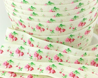 5/8 Ivory vintage floral fold over elastic, Wholesale headband elastic by the yard, Printed FOE for hair ties baby barefoot sandals