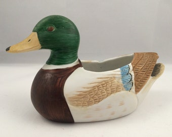 Duck planter, mallard planter, petite duck planter, duck decor