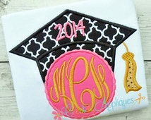Girl Graduation Cap Monogram Digital Machine Embroidery Applique Design 4 sizes