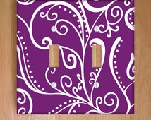Silent Era, Violet Vinyl Double Light Switch Cover, Outlet Cover, Wallplate, Home Decor, Swirls, Purple and White, Purple Home Decor, Swirls