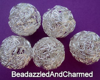 Wire Wrapped Silver Hollow Round Beads / Wirework Mesh Bright Silver Beads 25mm