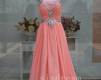 Long Pink Prom Dress /Pink Evening Dress