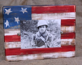 Wood block frame, Military frame; american flag; distressed picture frame; patriotic frame; 4x6 or 5x7 photo; red, white, and blue