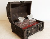 Vintage Treasure Chest Barware Set with 2 Clear Hobnail Decanters and 4 Shot Glasses