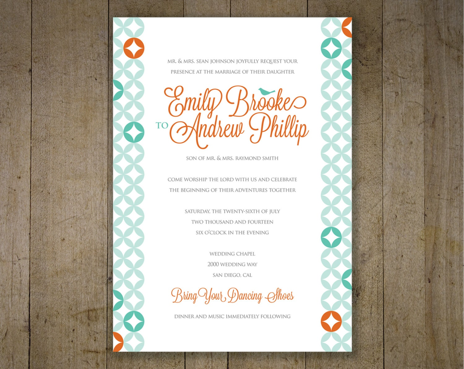Turquoise And Coral Wedding Invitations: Geometric Wedding Invitations Teal And Coral Custom By