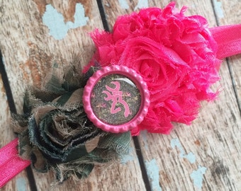 CAMO Pink & Brown shabby flower on elastic headband, newborn headband, photo props