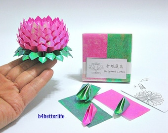 Pack Of 200 sheets Pink Color DIY Origami Lotus Paper Folding Kit for Making 2pcs of Medium Size Lotus. (TX Paper Series).