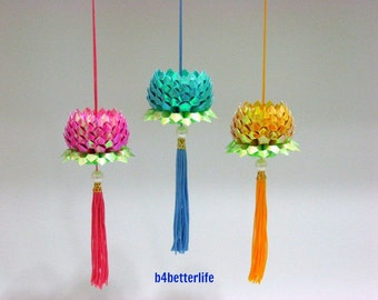 Lot of 3pcs Mini Size Origami Hanging Lotus In Violet Red, Blue and Goldenrod Colors. (AV paper series).