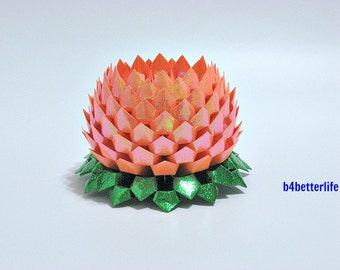 A Piece of Large Size Orange Color Origami Lotus. 132 Petals. (RS paper series).