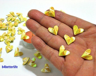 100pcs Yellow Color Mini Size 3D Origami Hearts LOVE. (RS paper series). #FOH-138.
