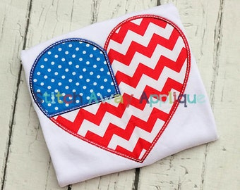 Patriotic Heart Fourth of July Machine Applique Design