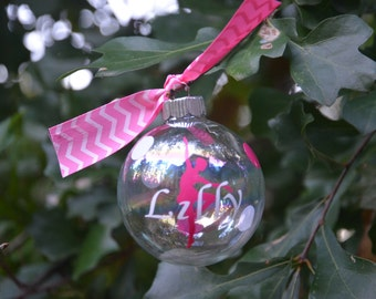 Personalized Customized Dancer Clear Glass Ornament decorated with coordinating ribbons and polka dots