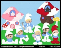 Smurf Clip Art - Commercial Use Graphic Digital Image Png Clipart Set - Instant Download - Cu4Cu - Garden, Dress Up, Gnome, Movie, Storybook