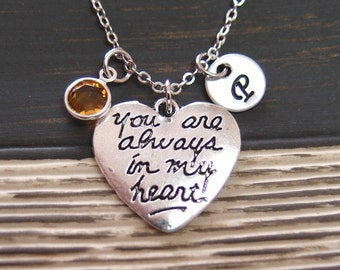initial necklace, You Are Always in My Heart necklace, birthstone necklace, Best Friend necklace, boyfriend girlfriend, his hers necklace