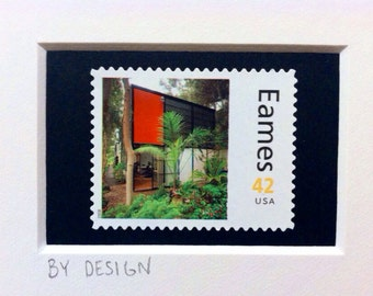 Eames House and Furniture Custom Framed Double Stamp Art