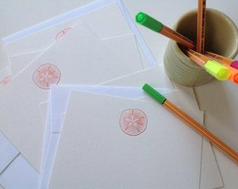 Set of 8 letterpress cards & envelopes - sand dollar