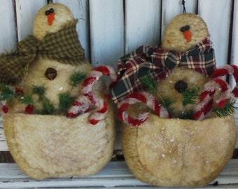 Snowman Pocket Ornie E-Pattern - Primitive Pattern - Snowman Ornanment E-Pattern - Primitive Christmas Snowman E-Pattern - Primitive Pattern