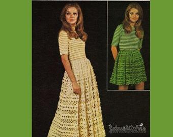 60s Maxi or Midi Dress - Boho Chic Lacy - Vintage Crochet Pattern - INSTANT PDF DOWNLOAD - 200604