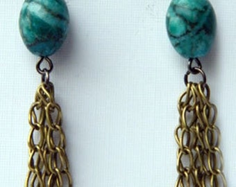 Turquoise colored jasper dangle earrings