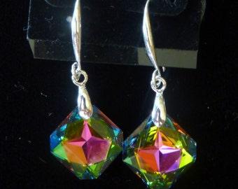 BEEutiful Multi-color Swarovski Crystal 14mm Earrings -- Vitrail Medium
