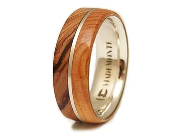 Olive Wood Ring and  Juniper Wood  in Sterling Silver, Olive Ring, woods bands, wood silver ring, silver bands, wood ring, olive