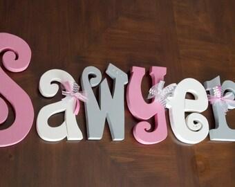 Hanging nursery letters, nursery letters, baby girl nursery letters, pink, white, grey nursery decor, nursery wall letters
