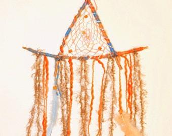 triangle hand made orange blue dream catcher