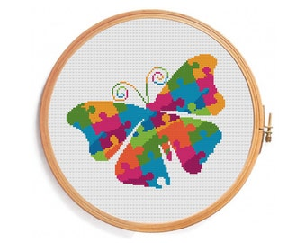 Butterfly cross stitch pattern - instant download - blue green yellow purple orange puzzle summer caterpillar swallowtail wings flower doll